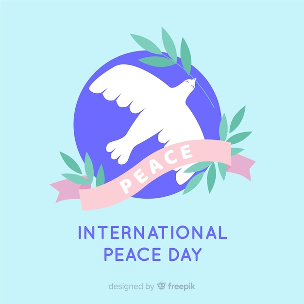 Colombe paix jour design plat fond Vecteur gratuit