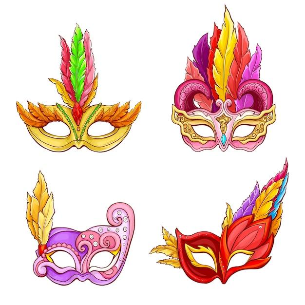 Colombina masques avec jeu de dessin animé de plumes Vecteur gratuit