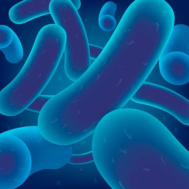 Colonie de bactéries, cellules virales ou microbes Vecteur Premium