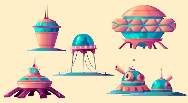 Colonisation De L'espace, Ensemble D'éléments De Base Cosmiques. Vecteur gratuit