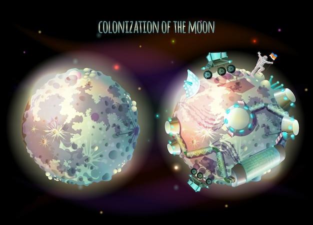 Colonisation, exploration et terraformation de la lune, satellite de la terre Vecteur Premium
