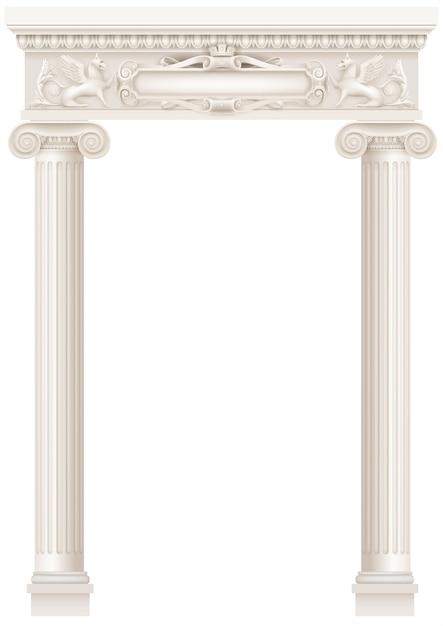 Colonnade Blanche Antique Avec De Vieilles Colonnes Vecteur Premium