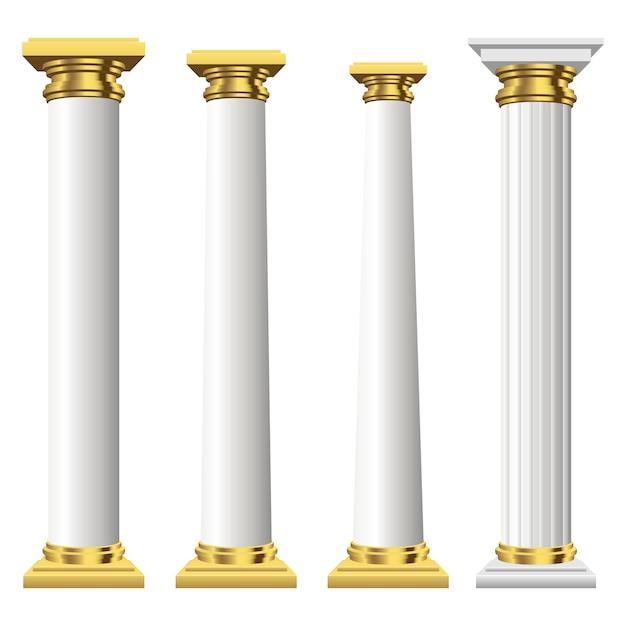 Colonnes Antiques Isolées Vecteur Premium