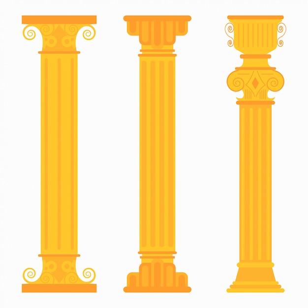 Colonnes classiques en or pour mariages Vecteur Premium