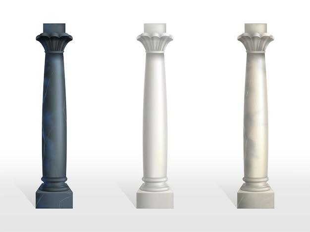 Colonnes cylindriques en marbre noir, blanc et beige Vecteur gratuit