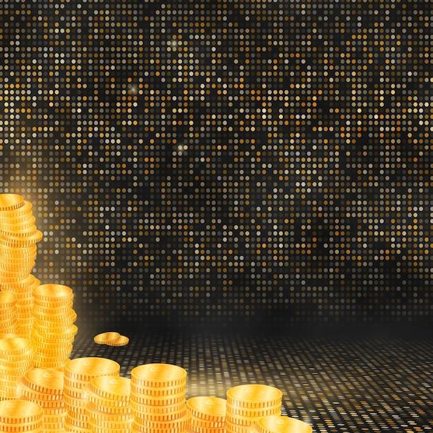 Colonnes de pièces d'or sur fond de mosaïque d'or Vecteur Premium