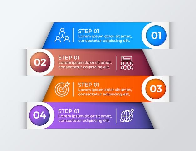 Coloré 4 étapes infographie de l'entreprise Vecteur Premium