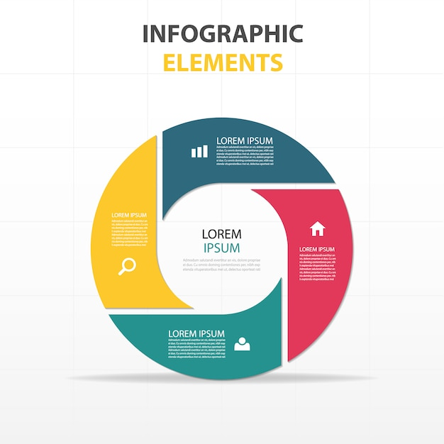 coloré abstrait cercle modèle infographique d'affaires Vecteur gratuit