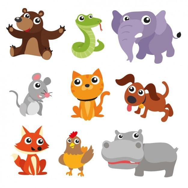 Coloré animaux collection Vecteur gratuit