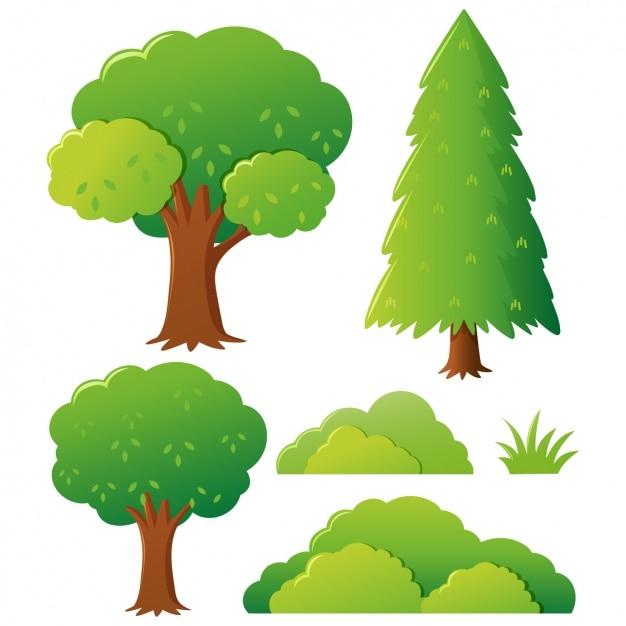 Coloré arbres collection Vecteur gratuit