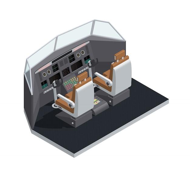 Coloré avion 3d isométrique intérieur composition isolée avec illustration vectorielle de cockpit vue de côté Vecteur gratuit