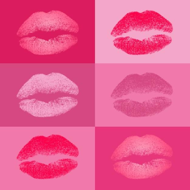 Coloré baisers collection Vecteur gratuit
