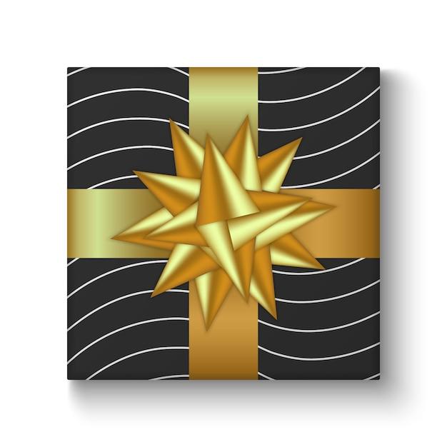 Coloré de boîte de cadeau de vacances décorée avec ruban et arc Vecteur Premium
