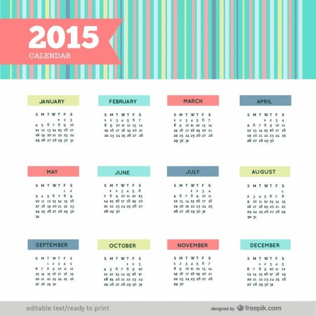 Coloré calendrier 2015 Vecteur gratuit