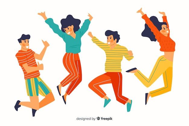 Coloré différentes personnes sautant ensemble Vecteur gratuit