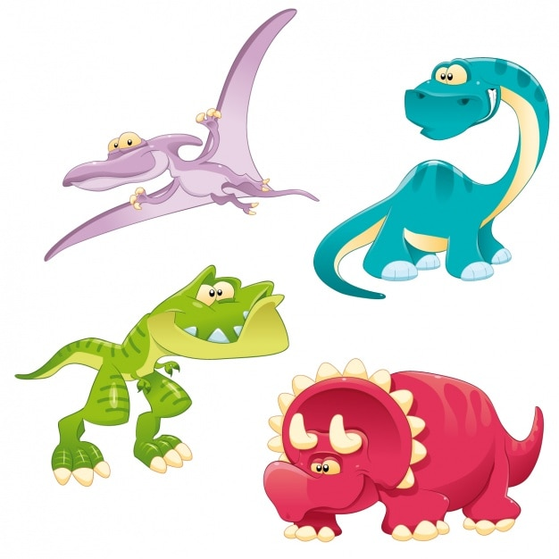 Coloré Dinosaures Collection Vecteur gratuit