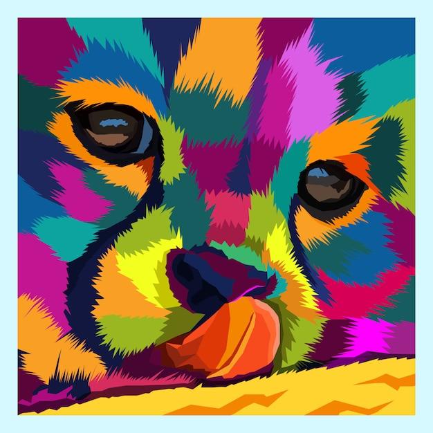 Coloré du vecteur de portrait chat pop art Vecteur Premium