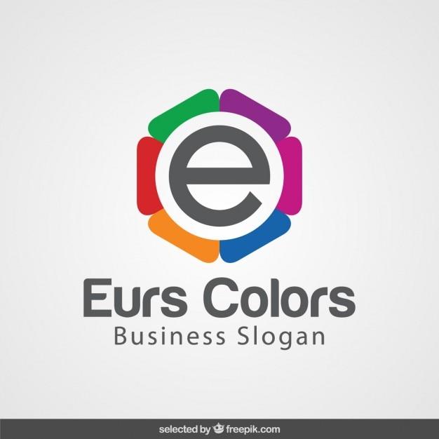 Coloré Avec E Logotype Vecteur gratuit