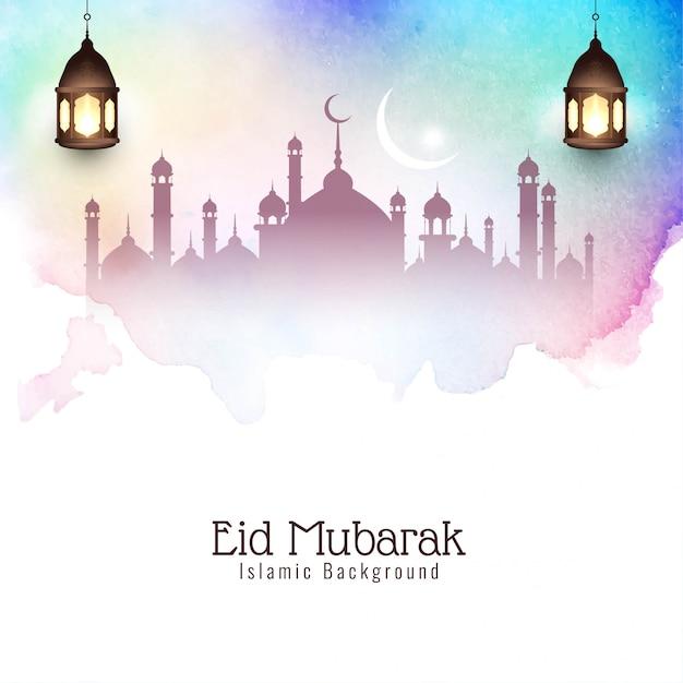 Coloré eid mubarak élégant décoratif Vecteur gratuit