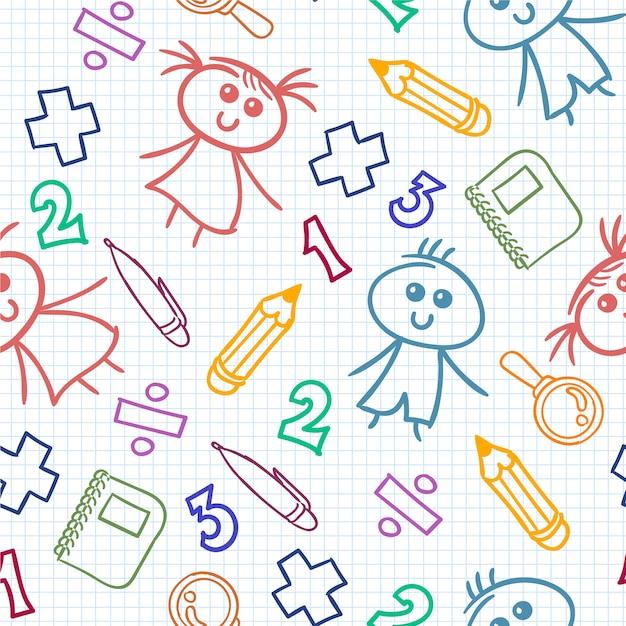 Coloré enfant tracé de dessin Vecteur gratuit