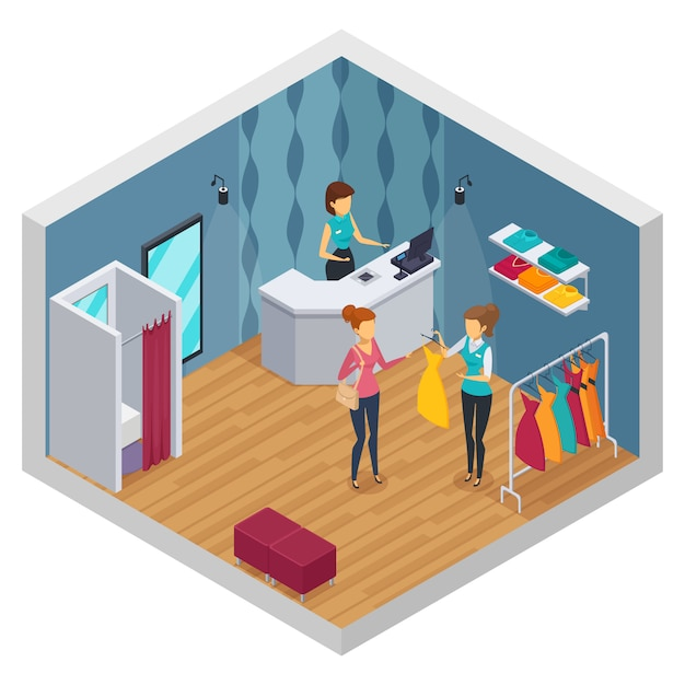 Coloré essayant intérieur isométrique avec la disposition des magasins de vêtements nouveau rénové élégant Vecteur gratuit
