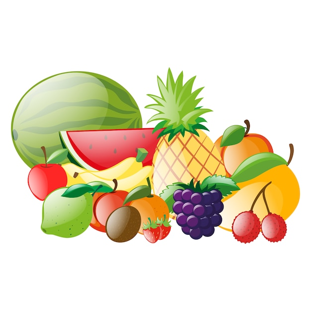 Coloré fruits collection Vecteur gratuit