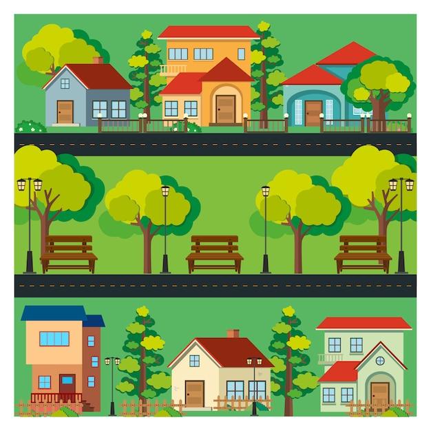 Coloré maisons fond Vecteur gratuit