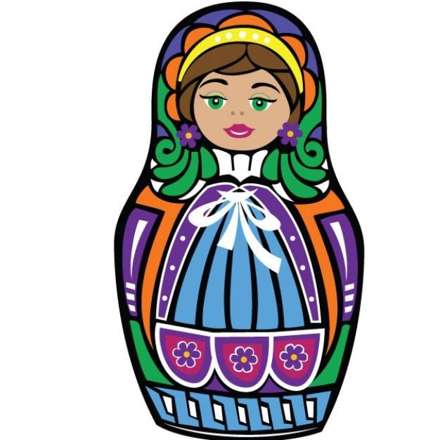 Coloré matriochka poupée illustration graphique Vecteur gratuit
