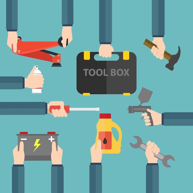 Coloré outils collection Vecteur gratuit