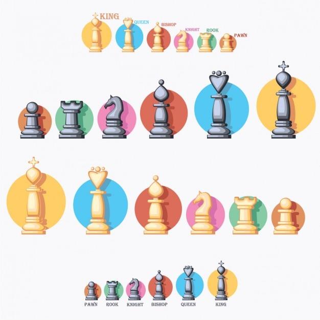 Coloré pièces d'échecs collection Vecteur gratuit