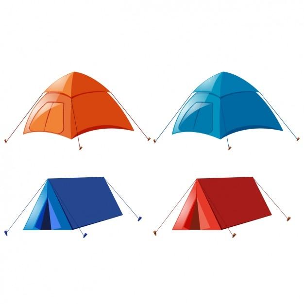 Coloré tentes collection Vecteur gratuit