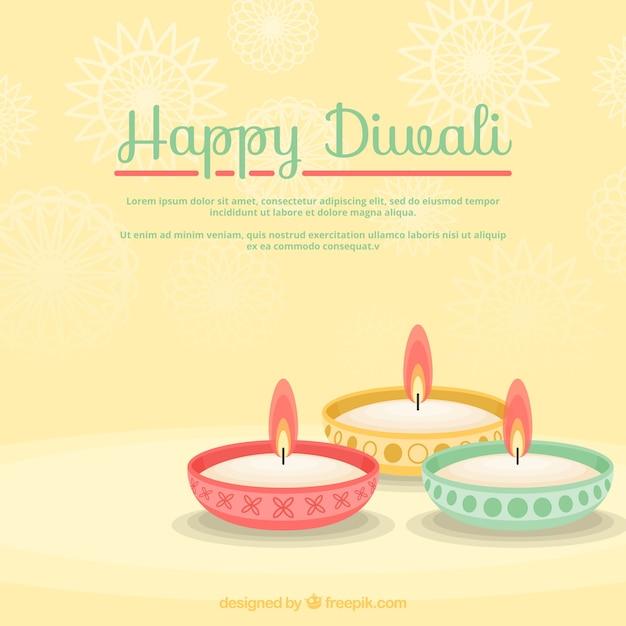 Colored bougies diwali fond Vecteur gratuit