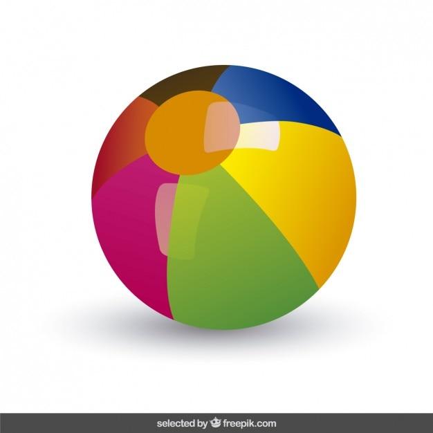 Colorful ballon de plage Vecteur gratuit