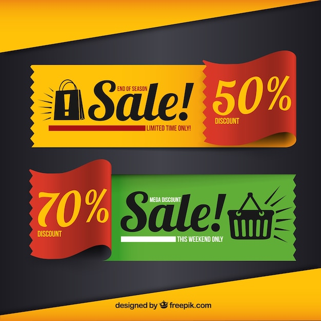 Colorful bannières de vente Vecteur gratuit