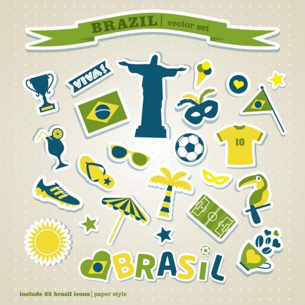 Colorful brésil icon set Vecteur gratuit