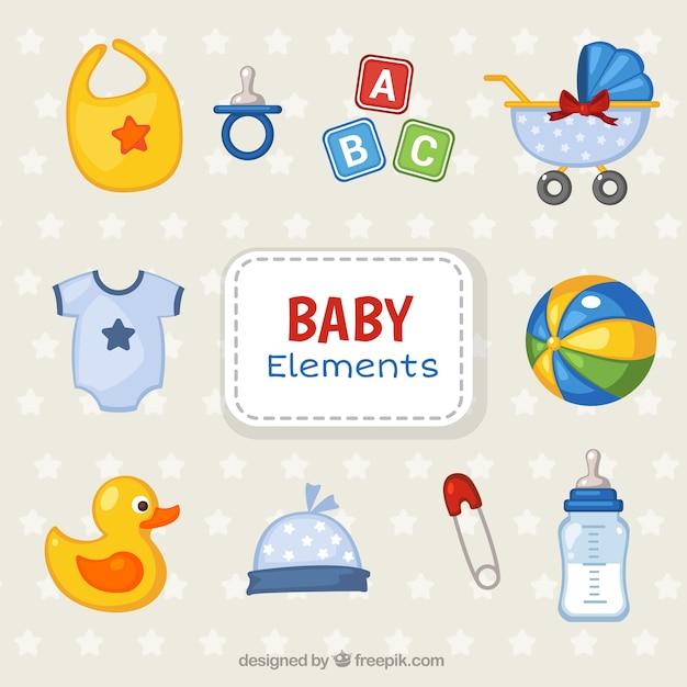 Colorful collection d'objets pour les bébés Vecteur gratuit