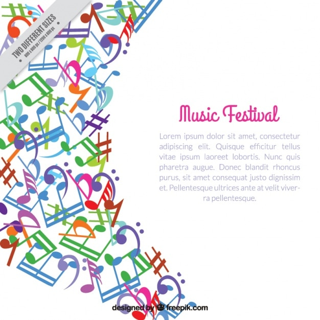 Colorful fond abstrait de notes musicales Vecteur gratuit