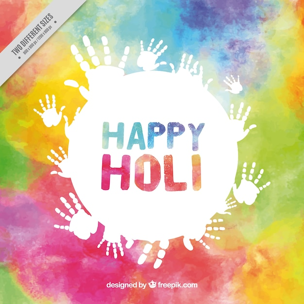 Colorful fond holi avec handprints blanc Vecteur gratuit