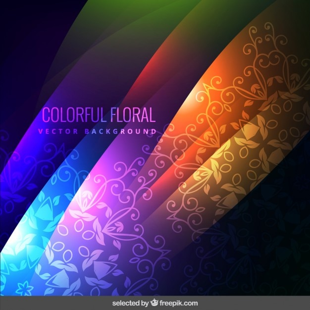 Colorful Fond Ornemental Floral Vecteur gratuit