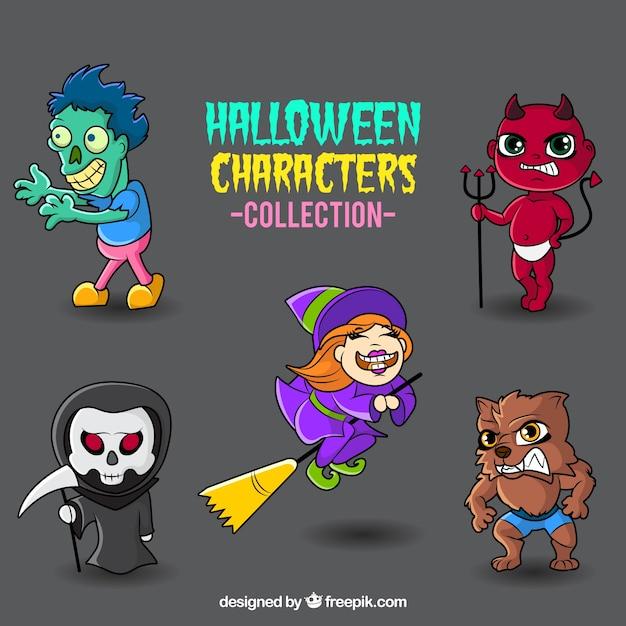 Colorful monstres collection halloween Vecteur gratuit