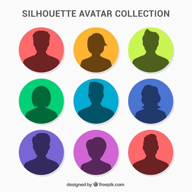Colorful pack of silhouette avatars Vecteur gratuit