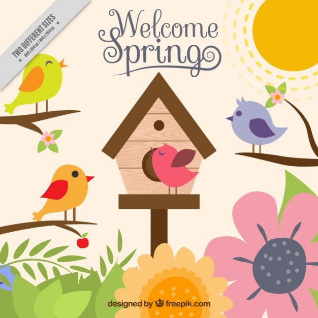 Colorful de printemps avec des oiseaux Vecteur gratuit