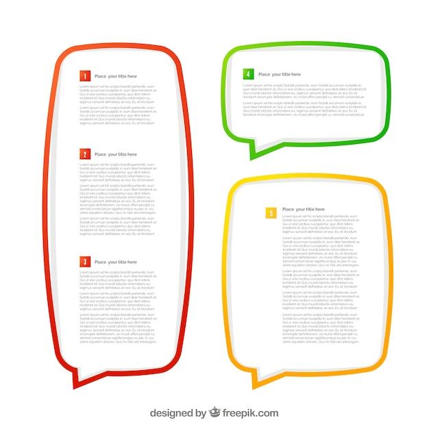 Colorful speech cadres buble Vecteur gratuit