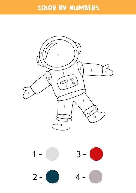 Coloriage Avec Astronaute. Couleur Par Numéros. Jeu De Mathématiques Pour Les Enfants. Vecteur Premium