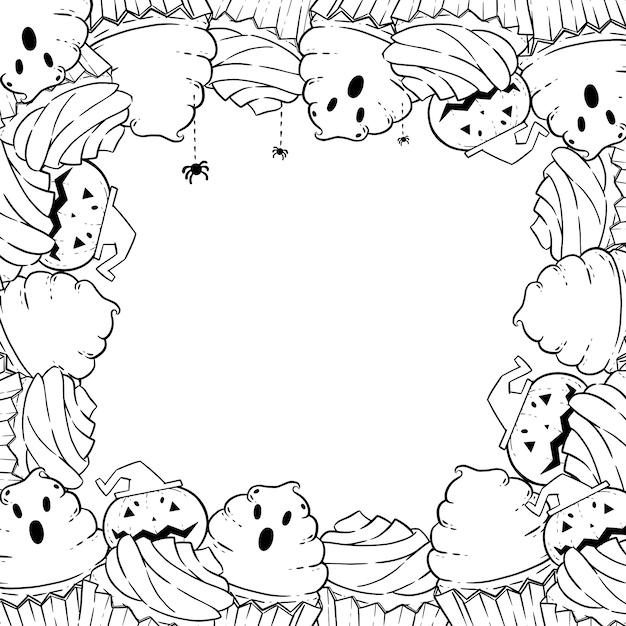 Coloriage: cadre avec cupcakes d'halloween, crème, chauve-souris, citrouille Vecteur Premium