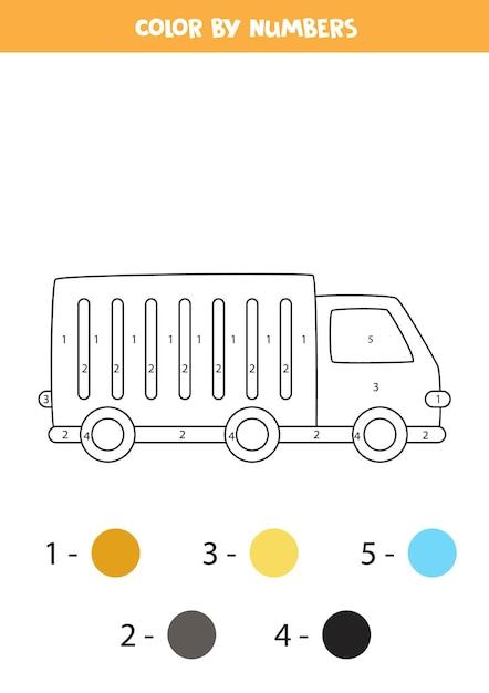 Coloriage Avec Camion De Dessin Animé. Couleur Par Numéros. Jeu De Mathématiques Pour Les Enfants. Vecteur Premium