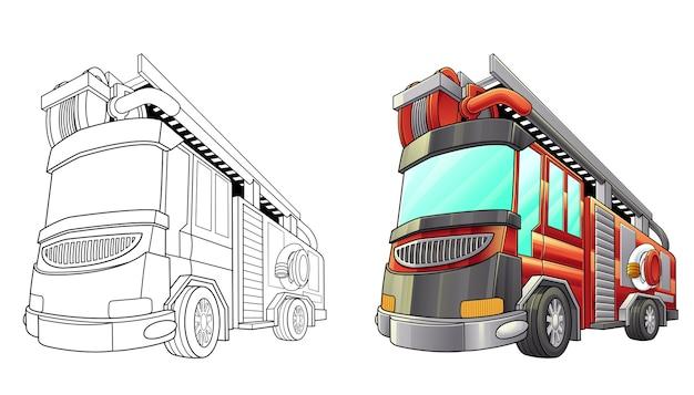Coloriage De Camion De Pompiers Pour Les Enfants Vecteur Premium