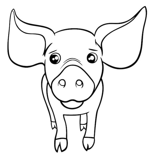 Coloriage De Cochon Ou De Porcelet Vecteur Premium