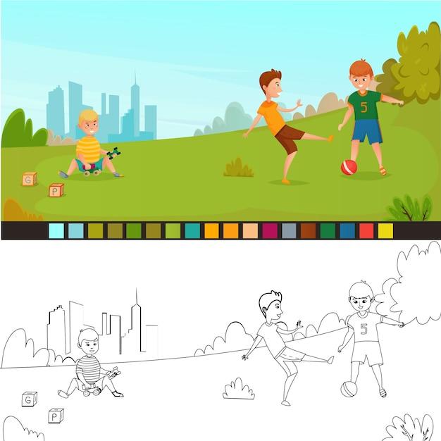 Coloriage composition pour enfants Vecteur Premium