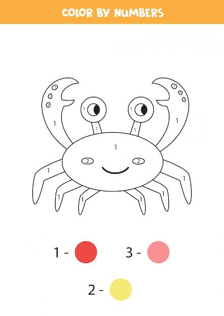 Coloriage Avec Crabe Mignon De Bande Dessinee Feuille De Travail Pour Les Enfants Vecteur Premium